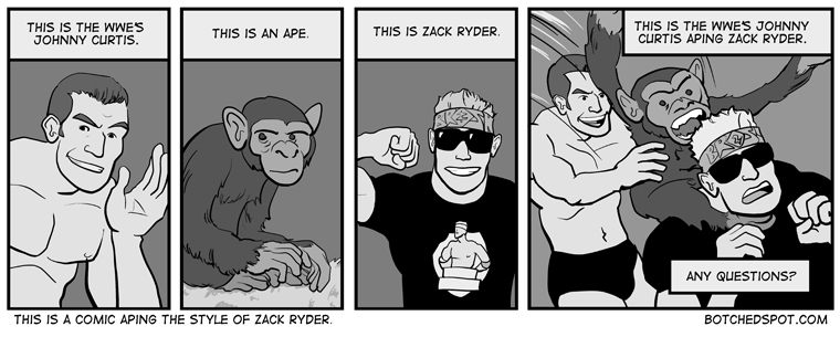 This is a Comic Aping the Style of Zack Ryder