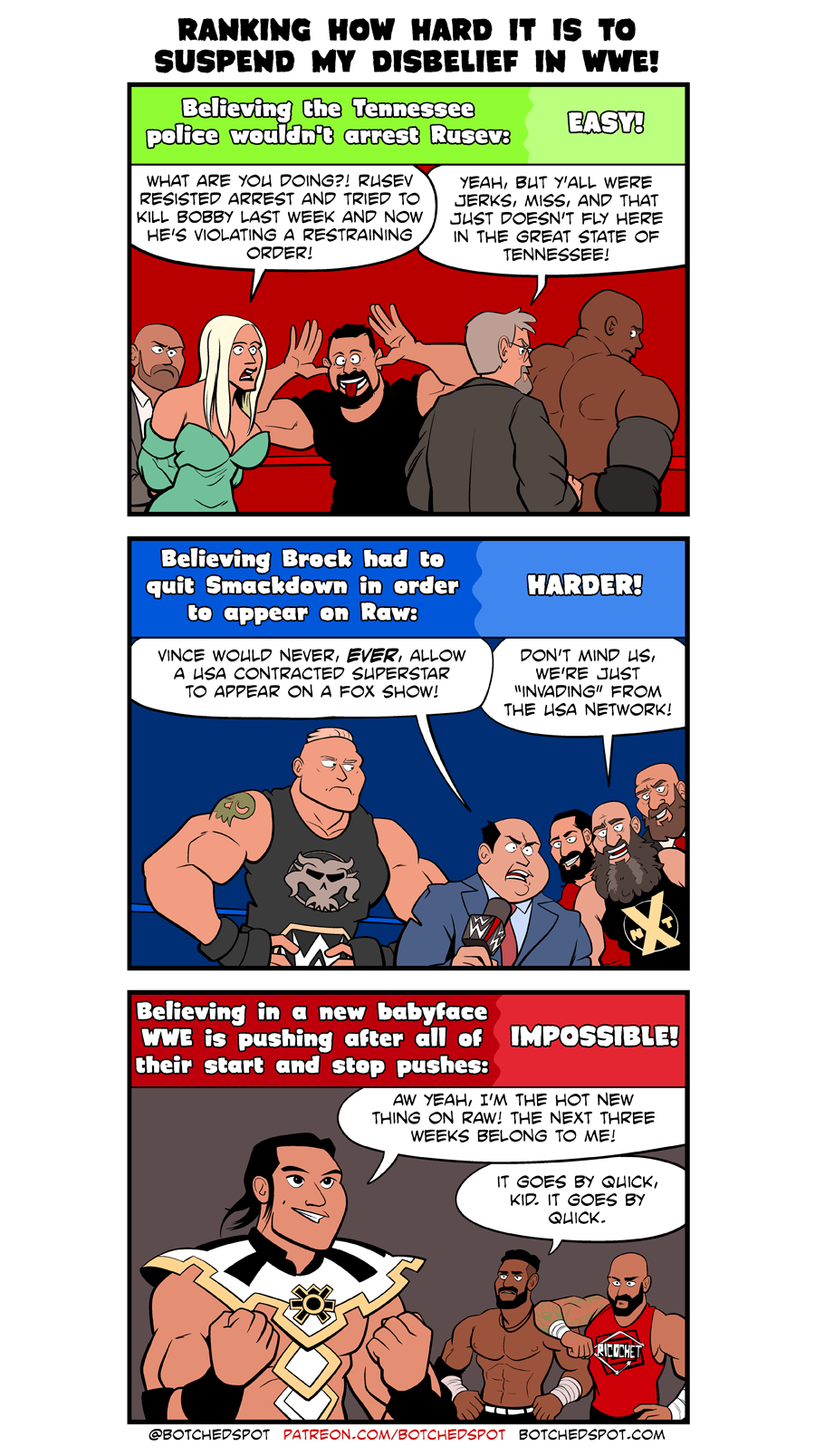 Ranking How Hard it is to Suspend my Disbelief in WWE!